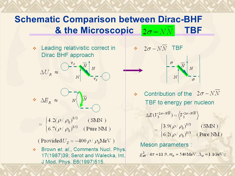 Schematic Comparison between Dirac-BHF & the Microscopic TBF  Leading relativistic correct in Dirac BHF approach   Brown et.