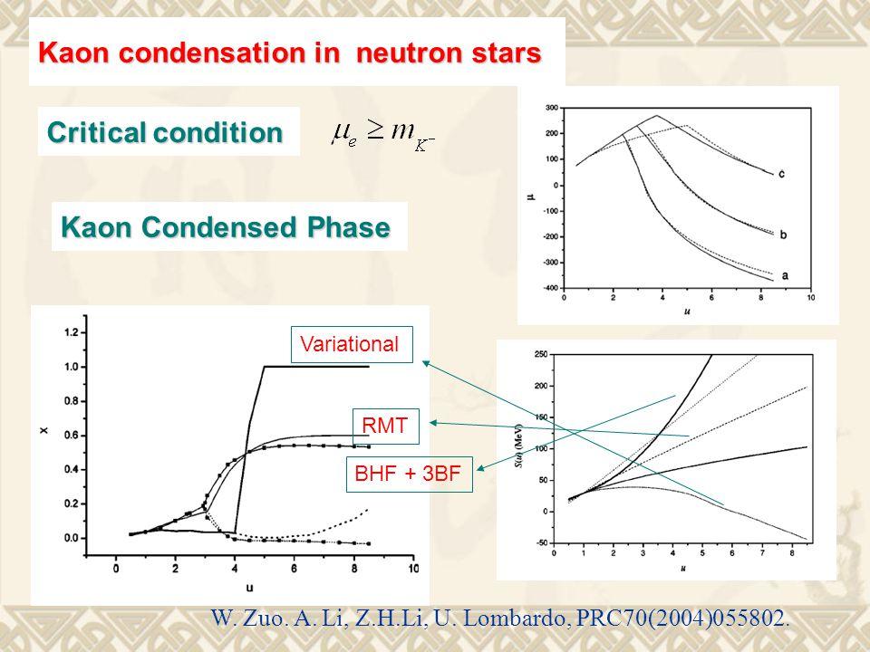 Kaon condensation in neutron stars Variational BHF + 3BF RMT W.