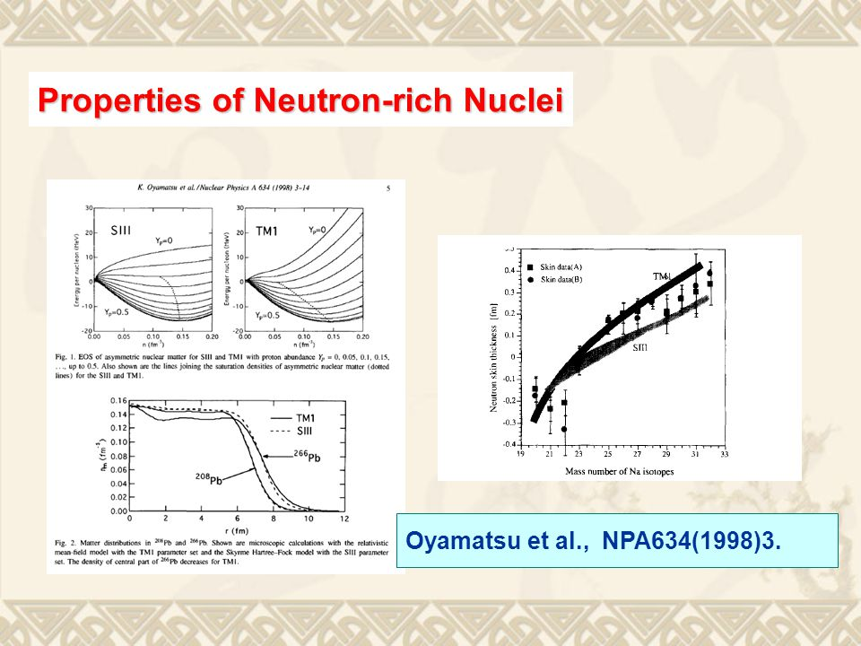 Oyamatsu et al., NPA634(1998)3. Properties of Neutron-rich Nuclei