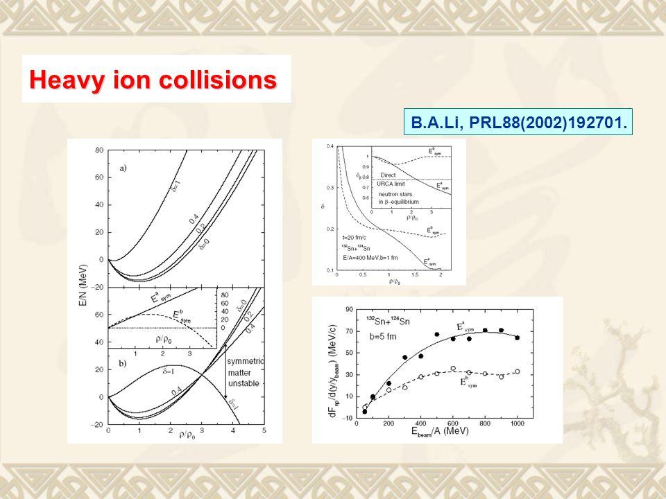 B.A.Li, PRL88(2002)192701. Heavy ion collisions