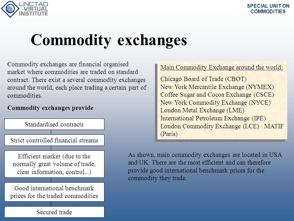 SPECIAL UNIT ON COMMODITIES Over the counter market The need for more sophisticated and specific hedging instrument has lead the over-the- counter market to be more and more used.