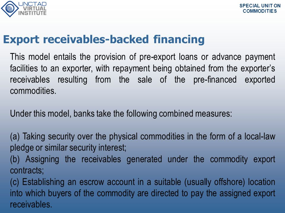 SPECIAL UNIT ON COMMODITIES Exporter EXAMPLE: EXAMPLE: Receivable-Based Financing 1.Underlying transaction: To trade naphtha and crude oil.