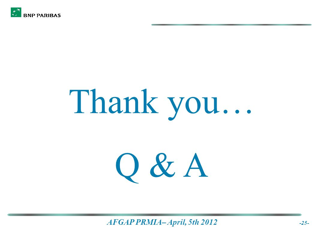 AFGAP PRMIA– April, 5th 2012 -25- Thank you… Q & A