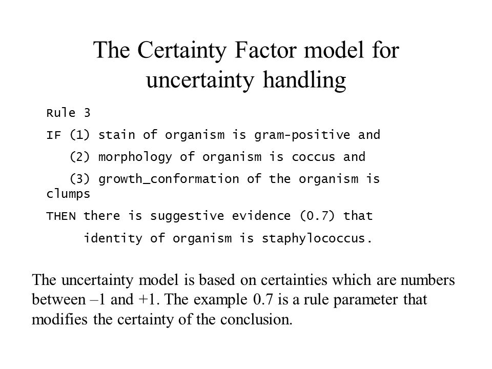 The Certainty Factor model for uncertainty handling Rule 3 IF (1) stain of organism is gram-positive and (2) morphology of organism is coccus and (3) growth_conformation of the organism is clumps THEN there is suggestive evidence (0.7) that identity of organism is staphylococcus.