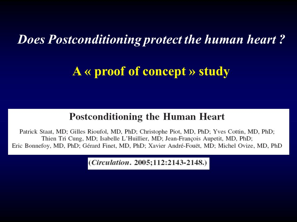 Does Postconditioning protect the human heart ? A « proof of concept » study