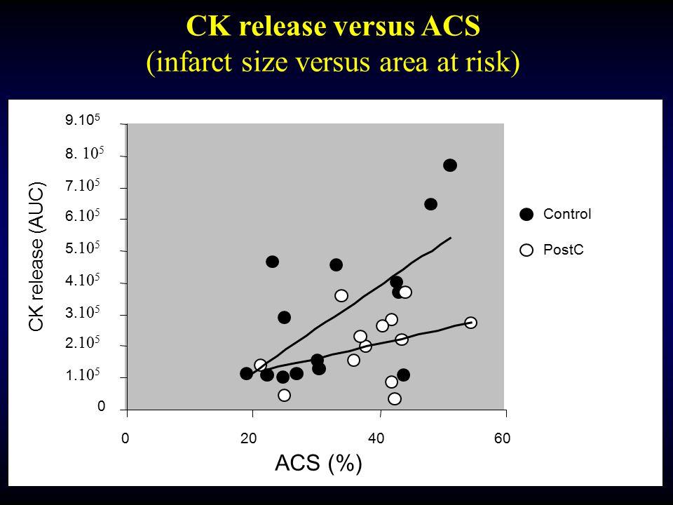 0 1. 10 5 2. 10 5 3. 10 5 4. 10 5 5. 10 5 6. 10 5 7. 10 5 8. 10 5 9.10 5 0204060 ACS (%) CK release (AUC) Control PostC CK release versus ACS (infarct
