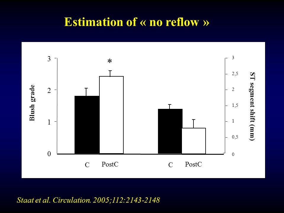 0 0,5 1 1,5 2 2,5 3 C 0 1 2 3 Blush grade ST segment shift (mm) PostC C * Staat et al. Circulation. 2005;112:2143-2148 Estimation of « no reflow »
