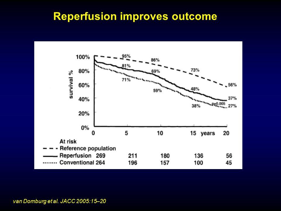 Reperfusion improves outcome van Domburg et al. JACC 2005:15–20