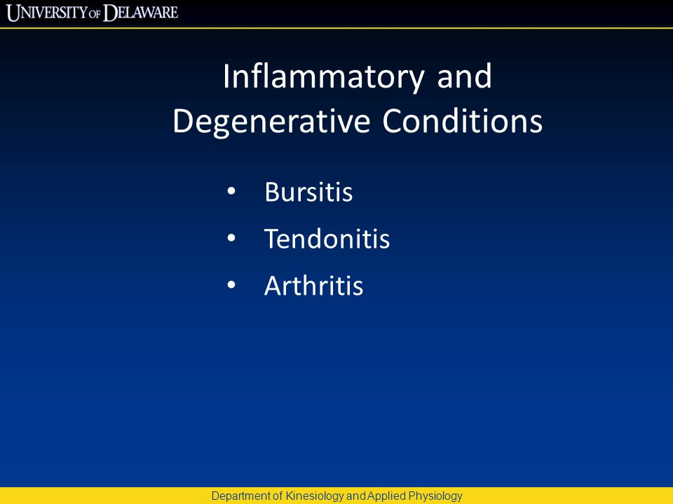 Department of Kinesiology and Applied Physiology Inflammatory and Degenerative Conditions Bursitis Tendonitis Arthritis