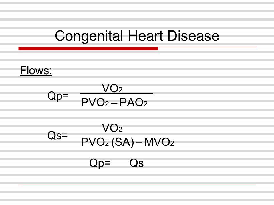 Congenital Heart Disease Flows: VO 2 Qp= PVO 2 – PAO 2 VO 2 Qs= PVO 2 (SA) – MVO 2 Qp=Qs
