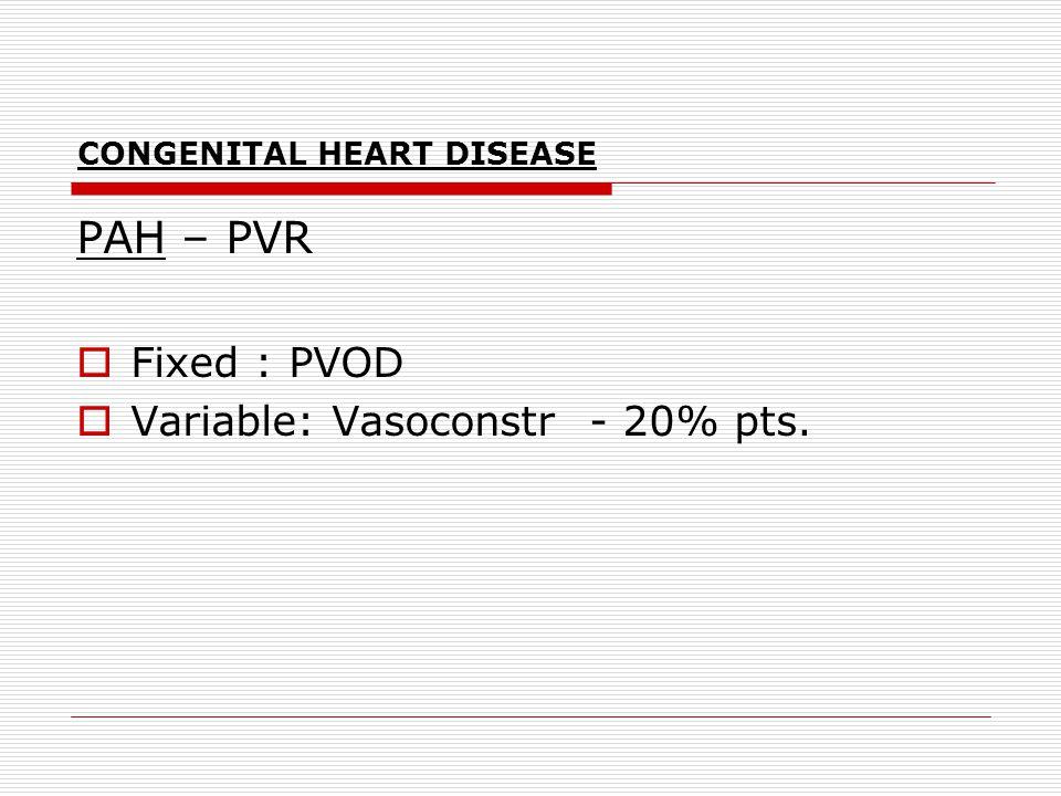 CONGENITAL HEART DISEASE PAH – PVR  Fixed : PVOD  Variable: Vasoconstr - 20% pts.