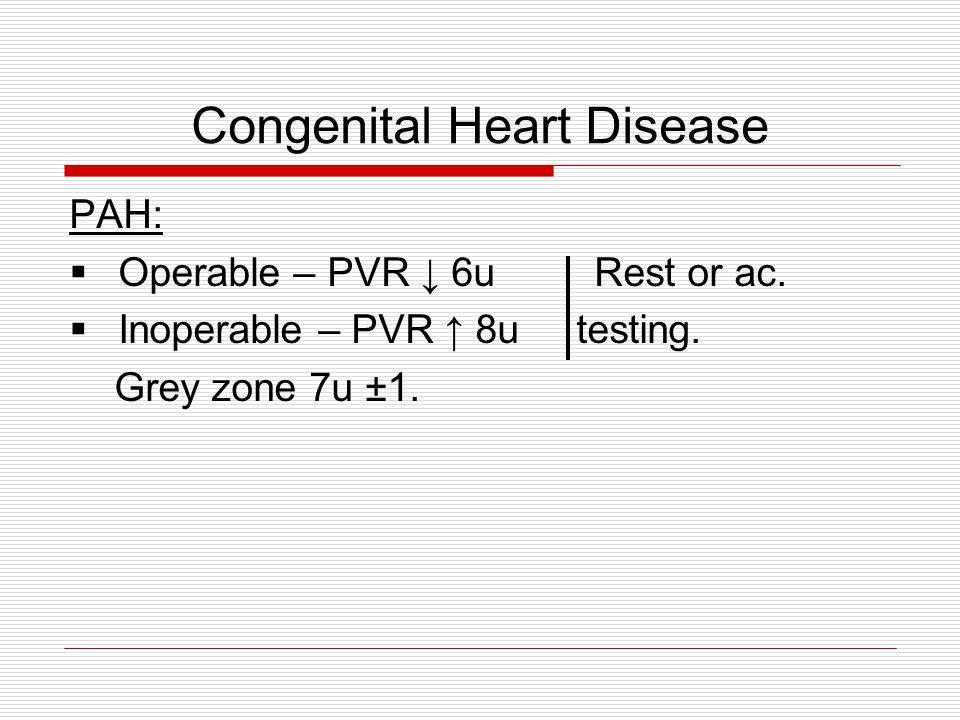 Congenital Heart Disease PAH:  Operable – PVR ↓ 6u Rest or ac.  Inoperable – PVR ↑ 8u testing. Grey zone 7u ±1.