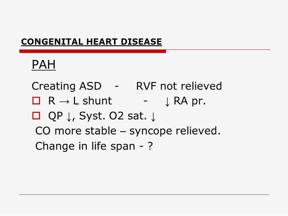 CONGENITAL HEART DISEASE PAH Creating ASD -RVF not relieved  R → L shunt - ↓ RA pr.