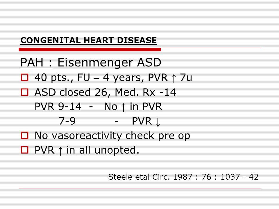 CONGENITAL HEART DISEASE PAH : Eisenmenger ASD  40 pts., FU – 4 years, PVR ↑ 7u  ASD closed 26, Med. Rx -14 PVR 9-14 -No ↑ in PVR 7-9 -PVR ↓  No va