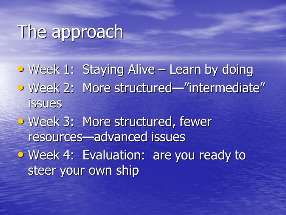 The approach Week 1: Staying Alive – Learn by doing Week 1: Staying Alive – Learn by doing Week 2: More structured— intermediate issues Week 2: More structured— intermediate issues Week 3: More structured, fewer resources—advanced issues Week 3: More structured, fewer resources—advanced issues Week 4: Evaluation: are you ready to steer your own ship Week 4: Evaluation: are you ready to steer your own ship