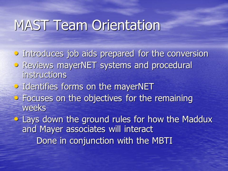 MAST Team Orientation Introduces job aids prepared for the conversion Introduces job aids prepared for the conversion Reviews mayerNET systems and pro