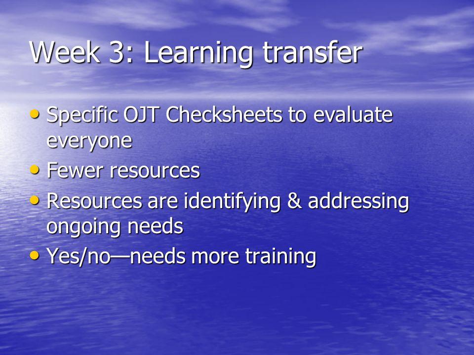 Week 3: Learning transfer Specific OJT Checksheets to evaluate everyone Specific OJT Checksheets to evaluate everyone Fewer resources Fewer resources