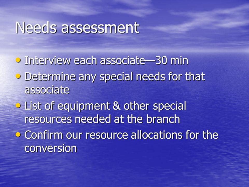Needs assessment Interview each associate—30 min Interview each associate—30 min Determine any special needs for that associate Determine any special