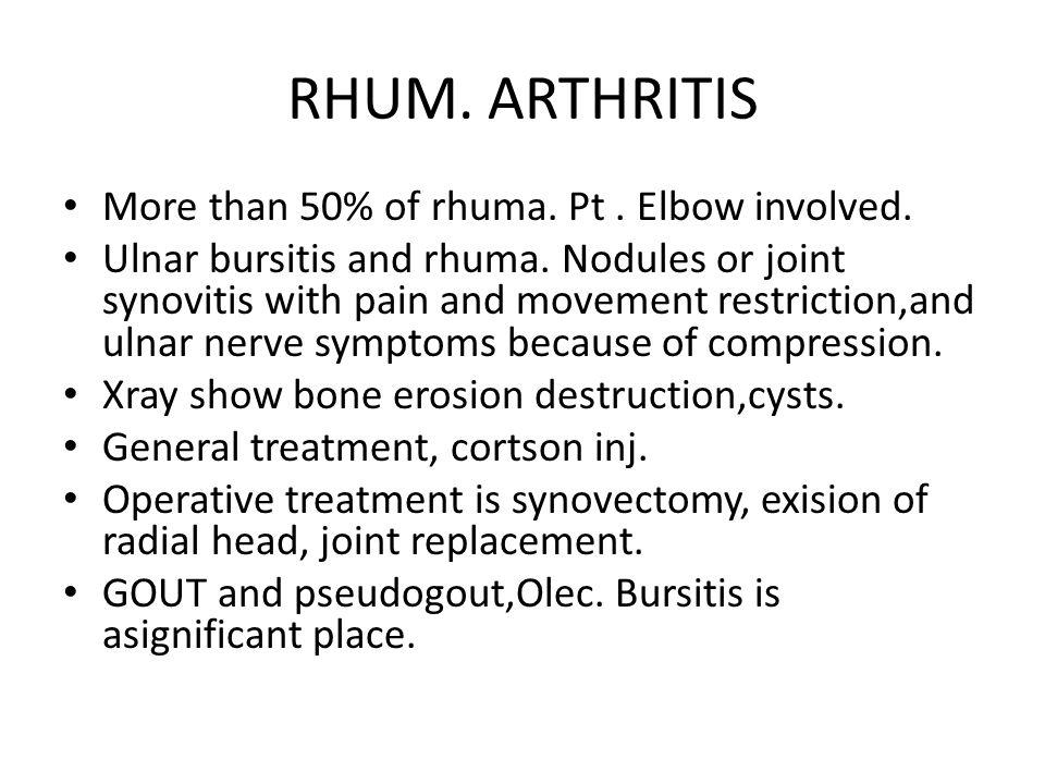 RHUM. ARTHRITIS More than 50% of rhuma. Pt. Elbow involved.