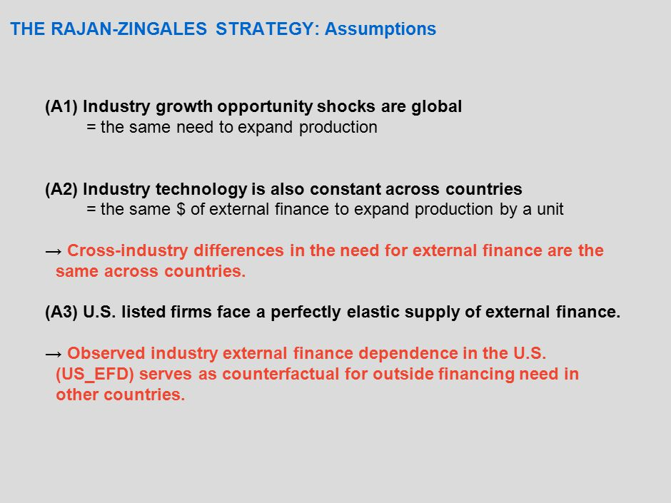 THE RAJAN-ZINGALES STRATEGY: Assumptions (A1) Industry growth opportunity shocks are global = the same need to expand production (A2) Industry technology is also constant across countries = the same $ of external finance to expand production by a unit → Cross-industry differences in the need for external finance are the same across countries.