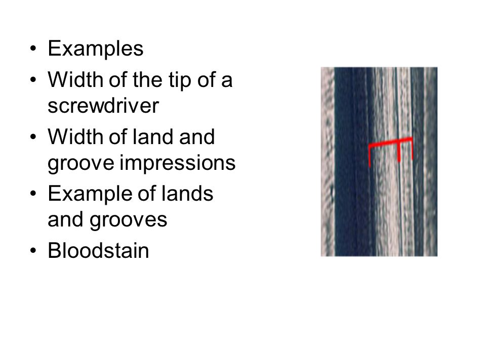 Examples Width of the tip of a screwdriver Width of land and groove impressions Example of lands and grooves Bloodstain