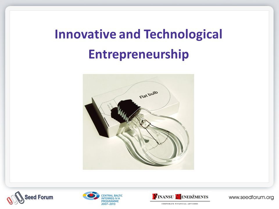 Innovative and Technological Entrepreneurship