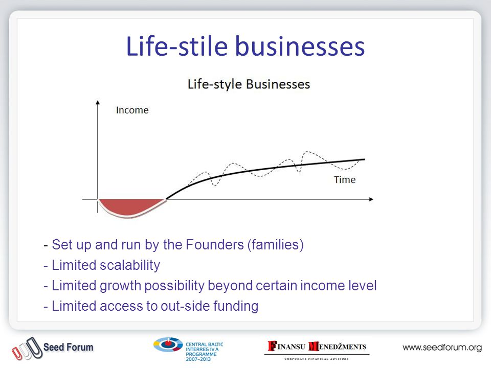 Life-stile businesses Financing: -FFF (founders, friends and family); -Soft money (grants, state & municipal programs) -HIPO Bank (LV state): Altum program, start-up lending -LIAA, Business Incubators (LV state): Incubation grants -Int.
