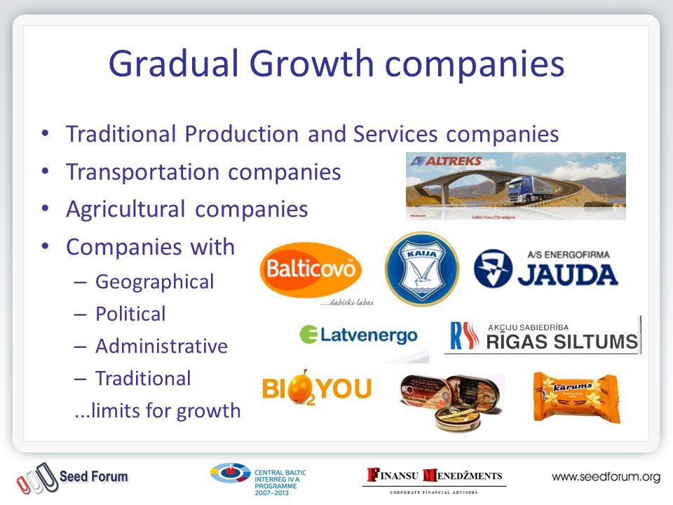 Gradual Growth companies Traditional Production and Services companies Transportation companies Agricultural companies Companies with – Geographical – Political – Administrative – Traditional...limits for growth