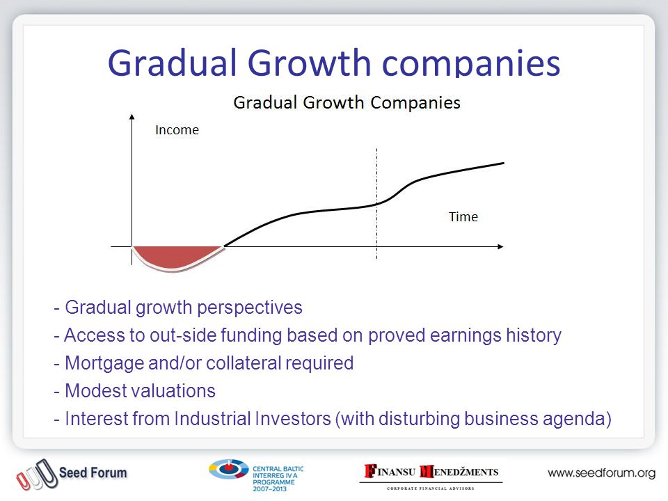 Gradual Growth companies Financing: -FFF (founders, friends and family); -Soft money (grants, state & municipal programs) -HIPO Bank (LV state): Altum program, start-up lending -LIAA, Business Incubators (LV state): Incubation grants -Int.