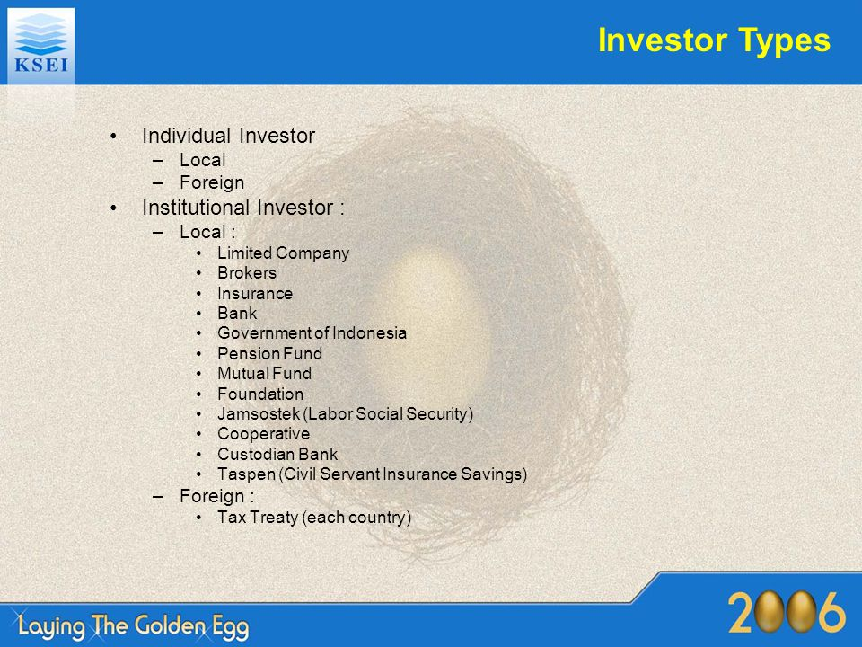 Investor Types Individual Investor –Local –Foreign Institutional Investor : –Local : Limited Company Brokers Insurance Bank Government of Indonesia Pe