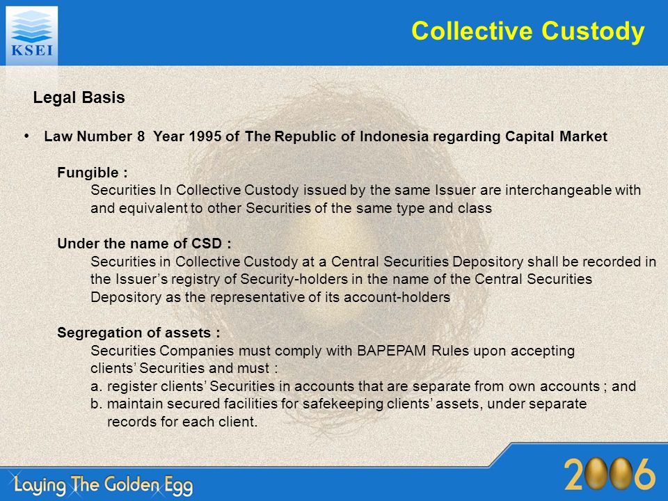 Legal Basis Law Number 8 Year 1995 of The Republic of Indonesia regarding Capital Market Fungible : Securities In Collective Custody issued by the sam