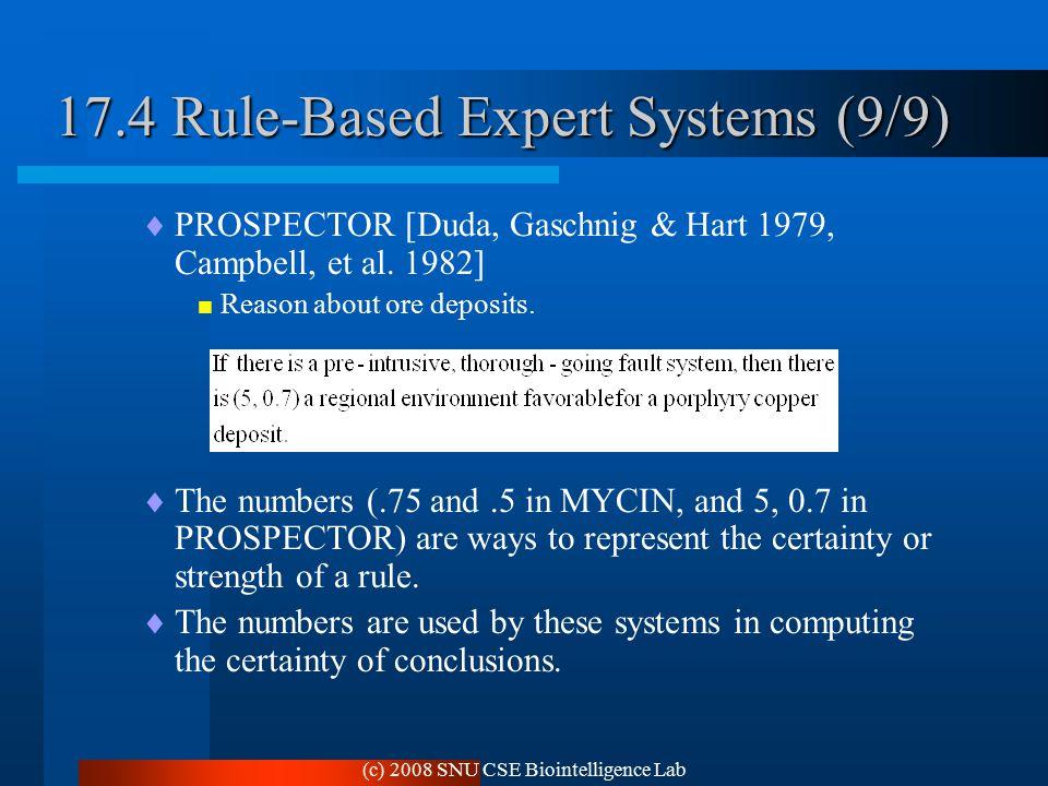 (c) 2008 SNU CSE Biointelligence Lab 17.4 Rule-Based Expert Systems (9/9)  PROSPECTOR [Duda, Gaschnig & Hart 1979, Campbell, et al.
