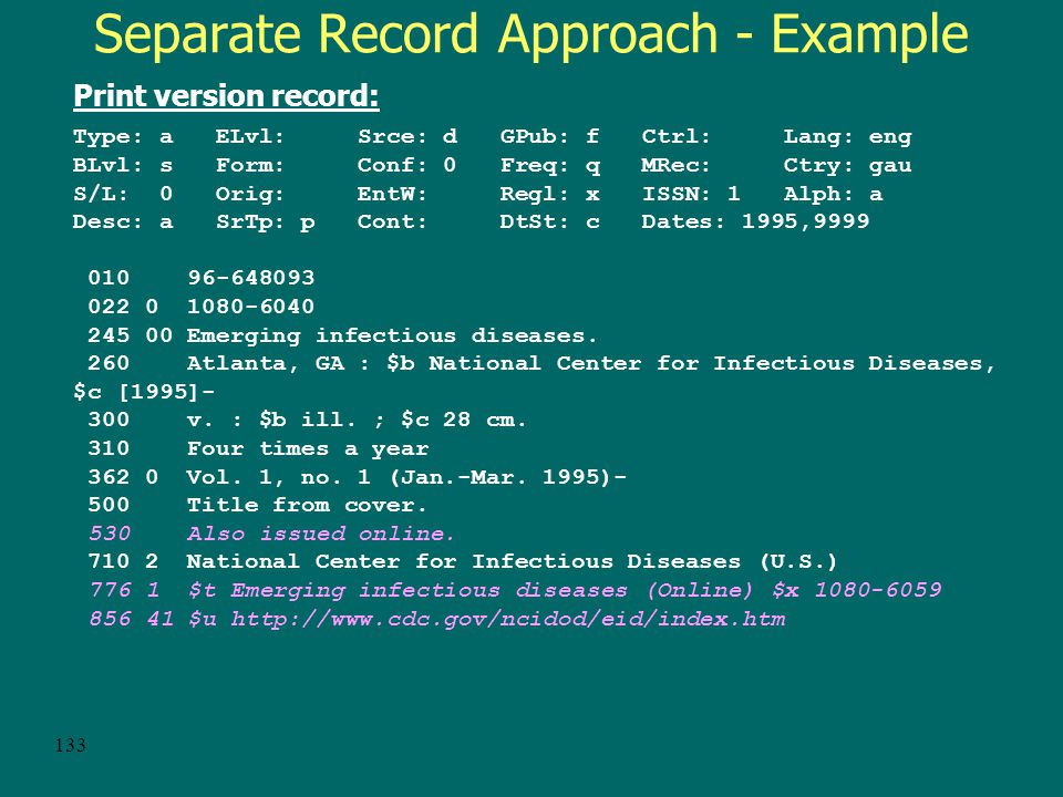 132 Separate record approach – Example Online version record: Type: a ELvl: Srce: d GPub: f Ctrl: Lang: eng BLvl: s Form: s Conf: 0 Freq: q MRec: Ctry: gau S/L: 0 Orig: s EntW: Regl: x ISSN: 1 Alph: a Desc: a SrTp: p Cont: DtSt: c Dates: 1995,9999 006 [m d f ] 007 c $b r $d c $e n $f u 022 0 1080-6059 130 0 Emerging infectious diseases (Online) 245 10 Emerging infectious diseases $h [electronic resource] : $b EID.