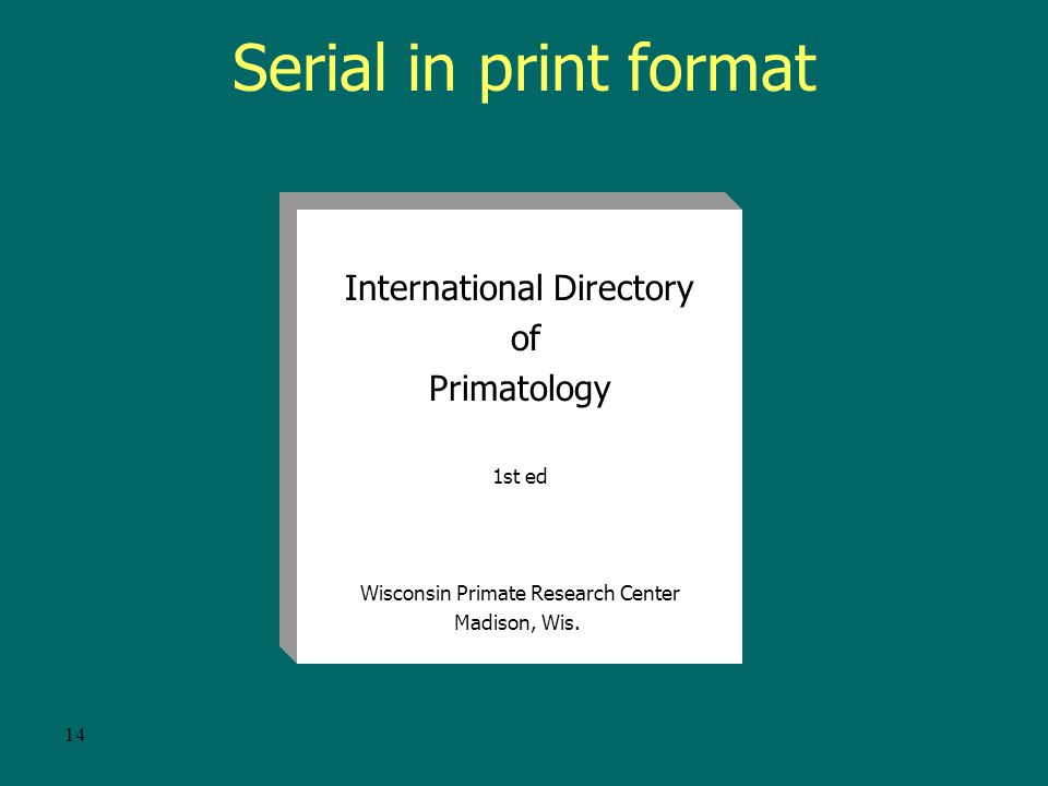 13 Going digital An online version of a print serial or other physical format serial that does not retain separate discrete parts or issues in online format, would be cataloged as an integrating resource