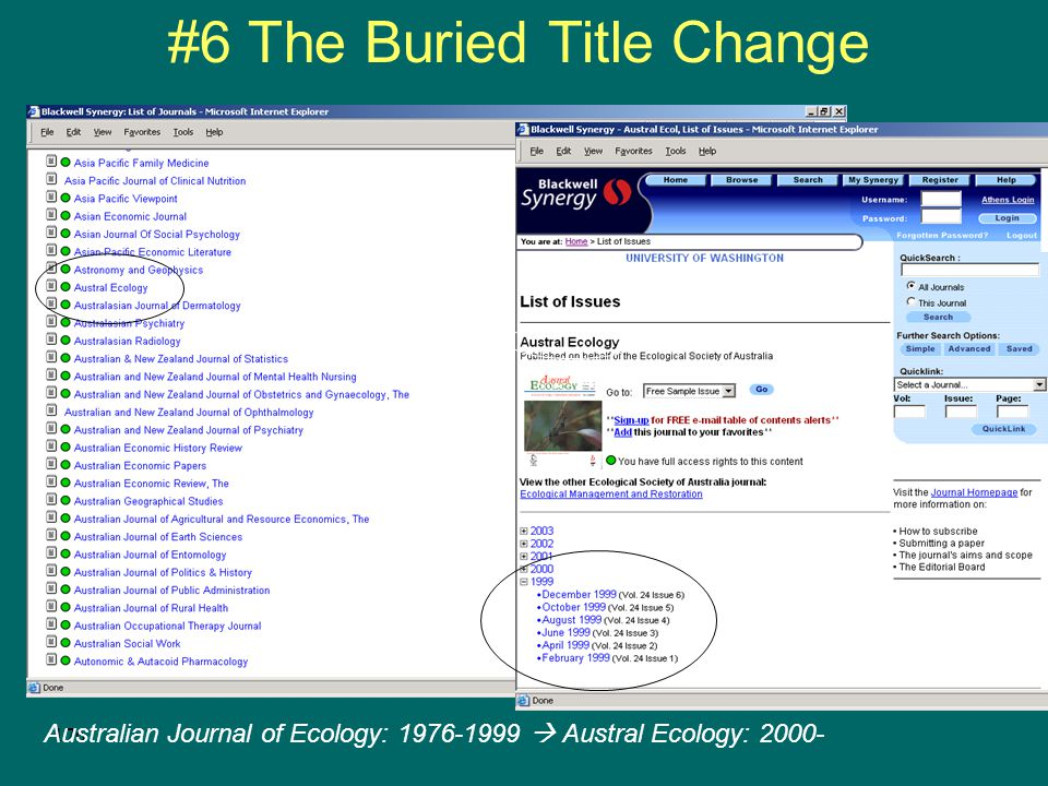175 #6 The Buried Title Change Publisher may not formally present a former title, however Remnants of the former title may appear in various locations around the Web site Do you create one record or two.