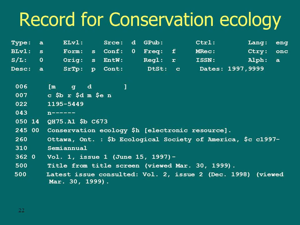 21 Conservation Ecology – Serial . Yes, this is a serial.