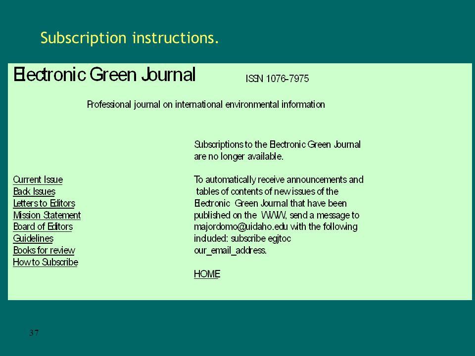 36 Sample E-serial. Home page: URL http://egj.lib.uidaho.edu/index.html