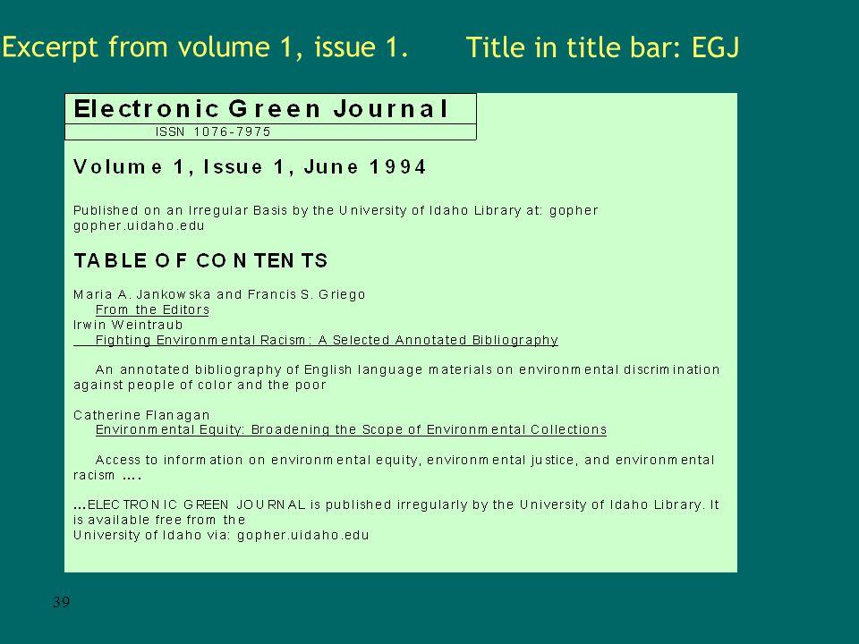 38 Back issues screen URL http://egj.lib.uidaho.edu/backis.html
