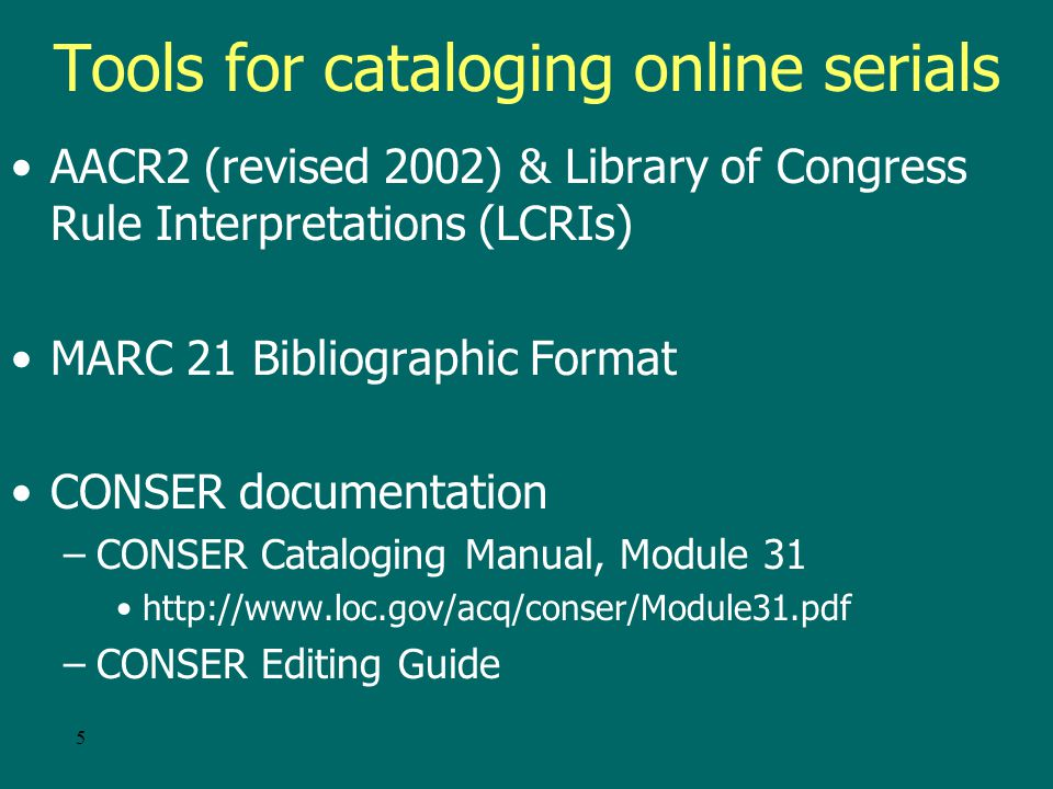45 Sources: Aggregator databases When the cataloger has access to a title available in several packages, base the description on: –Publisher s site (ScienceDirect, KluwerOnline) when it contains the full text –Host or archiving site (Ingenta, Highwire).