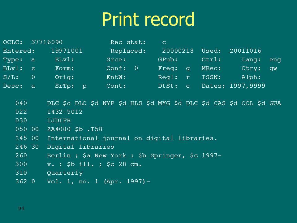 93 E-serial record cont. 362 0 Vol.