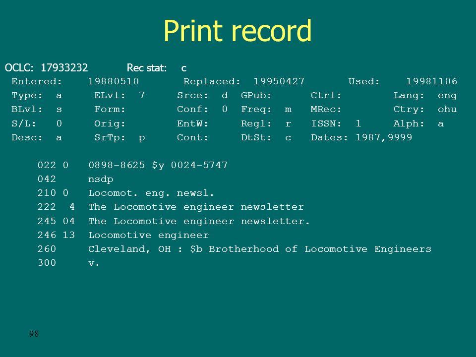 97 E-serial record cont. 500 Description based on: Vol.