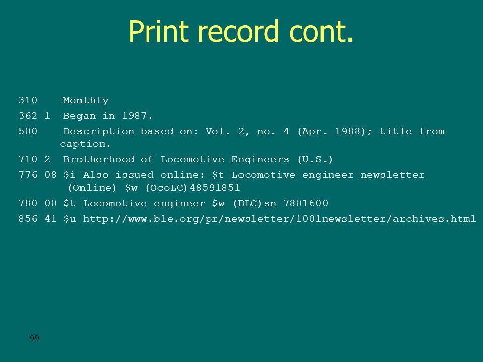 98 Print record OCLC: 17933232 Rec stat: c Entered: 19880510 Replaced: 19950427 Used: 19981106 Type: a ELvl: 7 Srce: d GPub: Ctrl: Lang: eng BLvl: s Form: Conf: 0 Freq: m MRec: Ctry: ohu S/L: 0 Orig: EntW: Regl: r ISSN: 1 Alph: a Desc: a SrTp: p Cont: DtSt: c Dates: 1987,9999 022 0 0898-8625 $y 0024-5747 042 nsdp 210 0 Locomot.