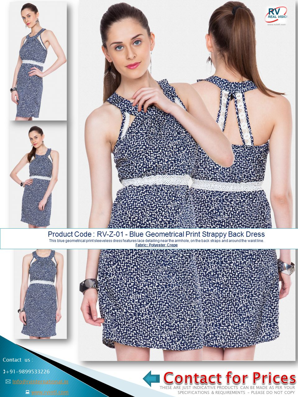 Product Code : RV-Z-01 - Blue Geometrical Print Strappy Back Dress This blue geometrical print sleeveless dress features lace detailing near the armhole, on the back straps and around the waist line.
