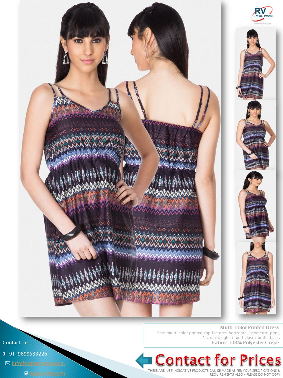 Multi-color Printed Dress This multi-color printed top features horizontal geometric print, 2 strap spaghetti and elastic at the back.