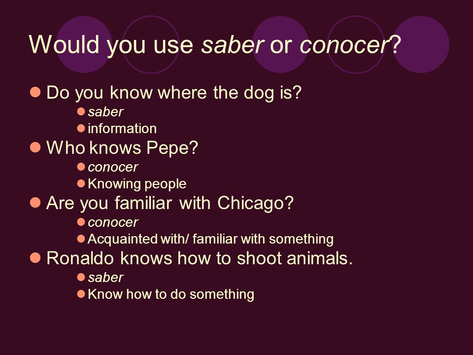 Would you use saber or conocer. Do you know where the dog is.