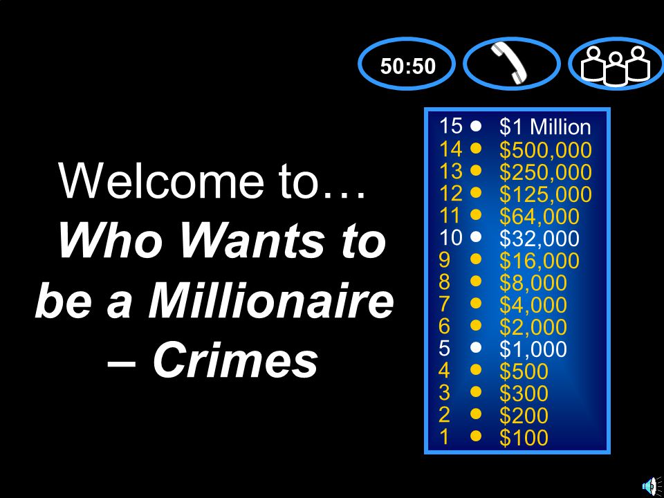 15 14 13 12 11 10 9 8 7 6 5 4 3 2 1 $1 Million $500,000 $250,000 $125,000 $64,000 $32,000 $16,000 $8,000 $4,000 $2,000 $1,000 $500 $300 $200 $100 Welcome to… Who Wants to be a Millionaire – Crimes 50:50