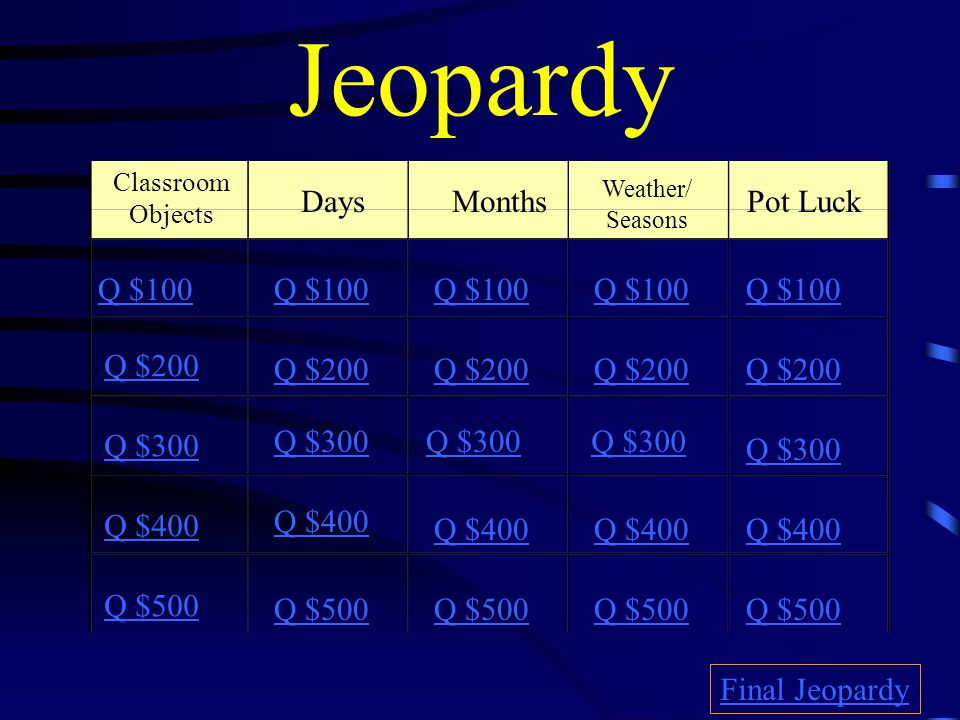 Jeopardy Hosted By: Señora Costello