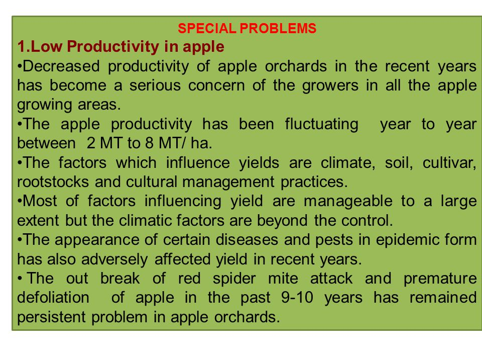 SPECIAL PROBLEMS 1.Low Productivity in apple Decreased productivity of apple orchards in the recent years has become a serious concern of the growers in all the apple growing areas.