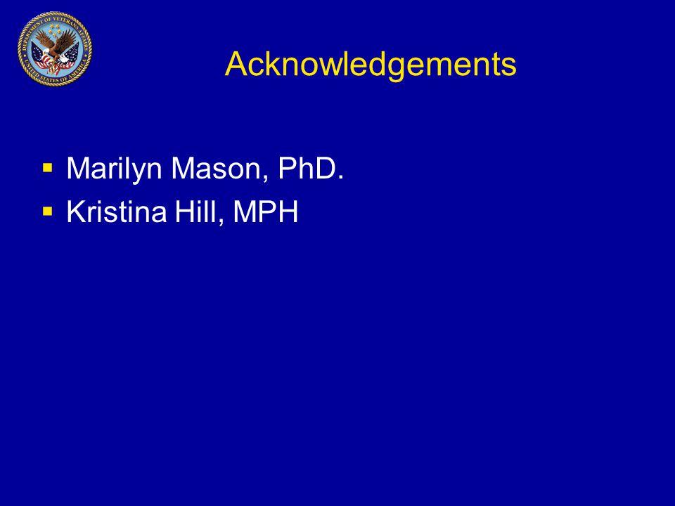 Acknowledgements  Marilyn Mason, PhD.  Kristina Hill, MPH