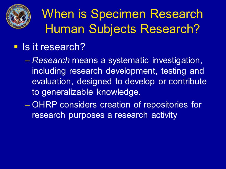 When is Specimen Research Human Subjects Research.